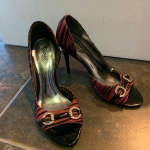 Carlos by Carlos Santana Pink/Black Striped Heels